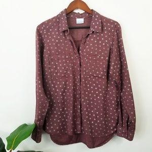 Columbia Polka Dot Flannel Shirt Large